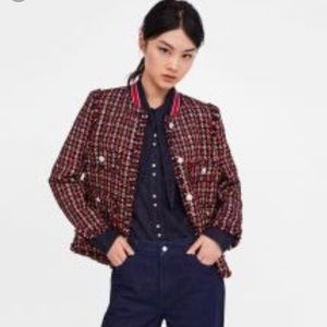 Brand New Zara Red and Navy Tweed Blazer
